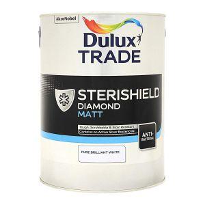 Dulux Trade Sterishield Diamond Matt Pure Brilliant White 5L