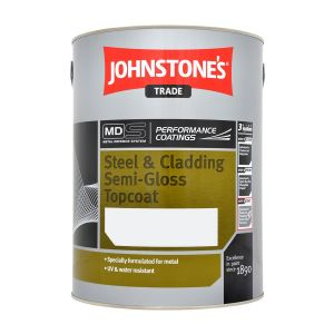 Johnstones Steel And Cladding Semi Gloss Top Coat Black 5L